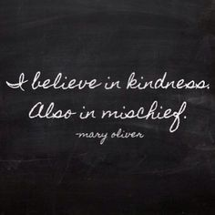 I believe in kindness. Also in mischief. -Mary Oliver Quote #quote #quotes #quoteoftheday