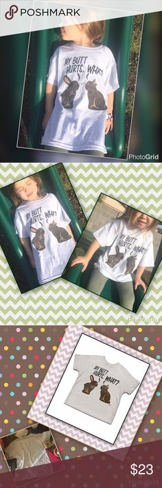 """Chocolate 🍫 Bunny 🐰 Tee Take a bite out of sweet fun with this toddler tee! Grey for spring, summer, makes a fun Easter treat!  Gray tee with cute graphics! Girl or boy! Company size chart: XS youth is approx width 16"""", length 20"""". Company sates this item runs small order a size up, the model in the images wears a size 4/5. 100% cotton 1% polyester Shirts & Tops Tees - Short Sleeve"""