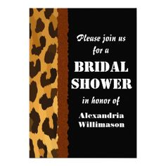 Leopard Animal Print and Black Bridal Shower Announcement