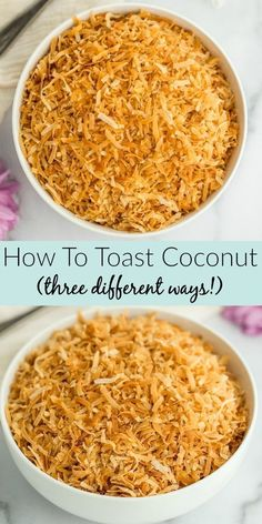 Coconut makes the perfect addition to any of your favorite treats. Would you like to toast a beautiful batch of coconut in just minutes? Come learn how to toast coconut three different ways - in the oven, microwave, or a skillet from Live Well Bake Often. After you toast the coconut, it is perfect for cakes, pies, and so much more! With this easy to follow guide you'll have the perfect toasted coconut every time. Unique Desserts, Fun Desserts, Delicious Desserts, Dessert Recipes, Dessert Sauces, Dessert Ideas, Baking Basics, Baking Tips, Baking Recipes