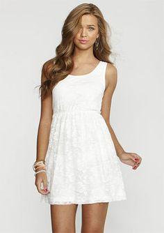 Little White Tank Dress with Lace - Summer 2012's Best Little White Dresses Under $50 - StyleBistro