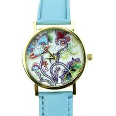 New Blue Flowers & Vines Lady Gift Women Crystal Quartz Wrist Watches #404 #Unbranded #Casual