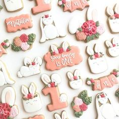 SOME BUNNY IS ONE I've been wanting to do this theme for such a long time! So I'm so excited to share it with you! The bunnies, mini plaque, flower & number 1 are all from I also used bow plaque and banner ❤. First Birthday Cookies, 1st Birthday Themes, Baby Girl 1st Birthday, Birthday Fun, First Birthday Parties, Birthday Ideas, Bunny Birthday Cake, Bunny Party, 1st Birthdays