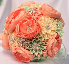 Fabric Wedding Bouquet brooch bouquet Peach and mint by LIKKO, $75.00