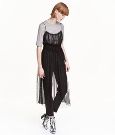 Check this out! Sheer dress in mesh with narrow shoulder straps, small ruffle trim at top, and smocking below bust. Unlined. - Visit hm.com to see more.