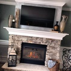 Fireplace Design for Home Fireplace Design for Home Fireplace Design for Home Diy Fireplace Designs That Will Give You Comfort - Craft Keep Home Fireplace, Tv Above Fireplace, Fireplace Design, Home Living Room, New Homes, Fireplace Mantel Decor, House, Fireplace Remodel, Fireplace Makeover
