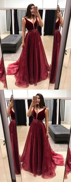burgundy v neck long prom dress, evening dress, formal dress