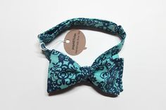 Freestyle Teal & Navy Blue Floral Bow Tie Teal and by popARTicles 10% off with promo code PIN10 #popARTicles #tealnavywedding #tealnavybowtie