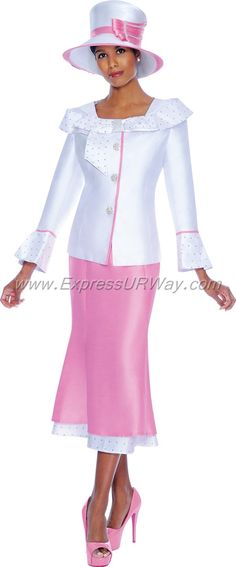 GMI G5052 White / Pink - Womens Church Suits