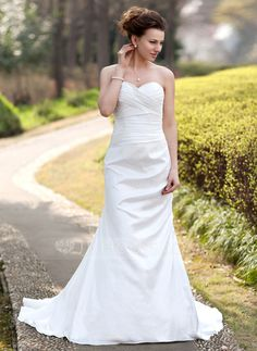 Wedding Dresses - $154.99 - Trumpet/Mermaid Sweetheart Court Train Taffeta Wedding Dress With Ruffle (002000490) http://jjshouse.com/Trumpet-Mermaid-Sweetheart-Court-Train-Taffeta-Wedding-Dress-With-Ruffle-002000490-g490?ver=n1ug2t&ves=vnlx6