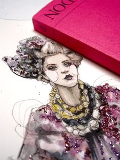 Close up of amazing glitter detailed fashion illustrations by PaperFashion