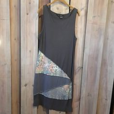 Gray Slim Dress Upcycled Clothing Detatchable Scarf