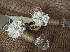 rustic wedding cake knife burlap and lace wedding by Mydaisy2000, $35.00