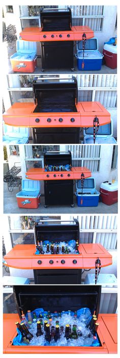 New use for old BBQ!  Clean out the inside and line with plastic or bus tub!  Spray Paint! and....Party Cooler!