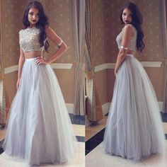 Silver Beaded Two Pieces Long A-line Tulle Prom