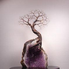 amethyst cluster tree | Wire Tree Of Life Spirit sculpture on Uruguay Amethyst Geode Quartz ...