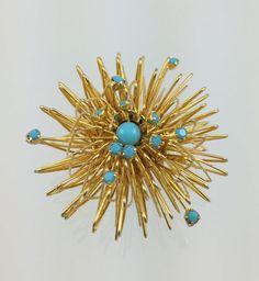 Vintage Turquoise Gold Atomic Pin  Circa 1960s by RhinestoneByrd