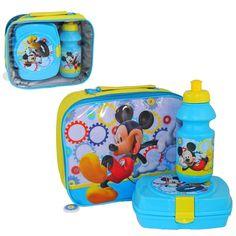Kids Disney Mickey Mouse School Lunch Bag  3D Set Drink Bottle & Sandwich Box