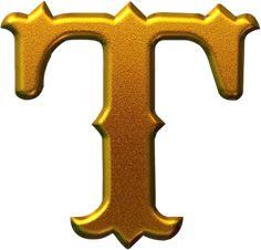 IMÁGENES DE LETRAS DORADAS PARA IMPRIMIR Cool Alphabet Letters, Diy Letters, Alphabet Design, Alphabet For Kids, Letter T, Gold Letters, Alphabet And Numbers, Fancy Letters, Graffiti Lettering Fonts