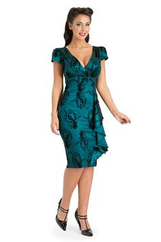 Voodoo Vixen Candy Anne Dress | Peacock Teal Print 50s Dress | Free Delivery