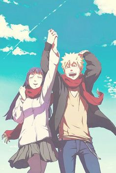 Naruto Shippuden, Naruto Uzumaki, Hinata Hyuga, anime  boy, girl, best couple, blonde hair, kawaii, cute, smile