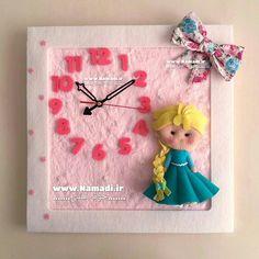 . ساعت دیواری السا . . . قیمت 95 تومان ابعاد 38*38 سانت موتور ژاپنی . . جهت سفارش از راه های ارتباطی بالای پیج 👆اقدام نمایید. . . . #نمدی #خونه_نمدی #سیسمونی #گیفت #نوزاد #felt #feltro #kece #namadi #دیزاین #دکوراسیون #تزئینات Crafts Fir Kids, Felt Crafts, Art Of Charm, Swedish Weaving, Ballerina Party, Felt Baby, Felt Toys, Diy Doll, Felt Flowers