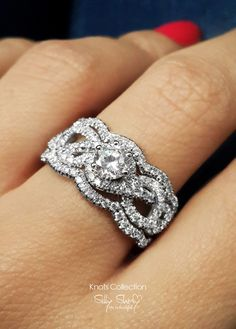 Infinity knot Engagement Ring With 2 Wedding by SillyShiny on Etsy, $1998.00 Loving this may have to get something like then for my 10 year upgrade! :)