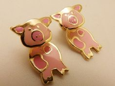 Adorable Pair of Pink Pig Gold Tone Enamel by TheEarringPlace