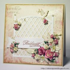 {Re}kreasjoner: Team Scrapping - Bryllupskort med Marianne Design // Wedding card - Marianne Design die and paper Marianne Design, Wedding Card, Cardmaking, Florals, Shabby Chic, Scrapbooking, Paper Crafts, Tags, Frame