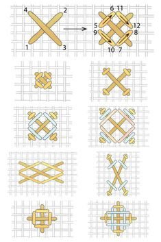 The distinctively textured rice stitch is a member of the very large cross-stitch family, and it has numerous variations. Cross Stitch Family, Cross Stitch Art, Cross Stitch Borders, Cross Stitch Samplers, Modern Cross Stitch, Cross Stitch Designs, Cross Stitch Embroidery, Cross Stitch Patterns, Plastic Canvas Ornaments