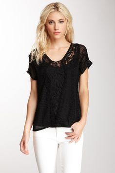 Silk Short Sleeve Lace Top