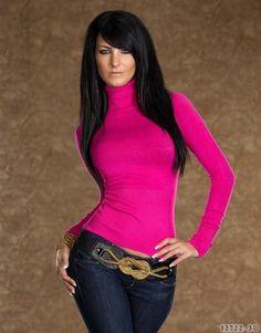 Damen Rollkragen-Pullover Pulli Shirt Feinstrick S/M, M/L Pink Blau Lachs Grün
