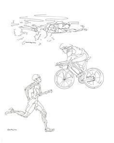 Line Drawing of Male Triathlon 8x10 Print