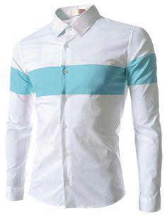 (EVS73-WHITESKY) Slim Fit Stretchy 2 Tone Long Sleeve Shirts