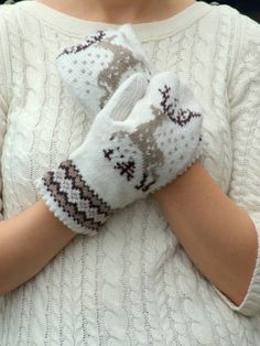 Knit mittens nordic reindeer ornament wool brown and by CozySeason