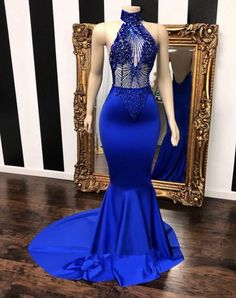 long prom dresses Off The Shoulder Zippers High neck halter beaded royal blue satin prom dress Sleeveless Illusion beading bodice Mermaid long prom dress with sweep train Blue Mermaid Prom Dress, Royal Blue Prom Dresses, Prom Girl Dresses, Prom Outfits, Mermaid Evening Dresses, Bridesmaid Dresses, Formal Dresses, Prom Gowns, Graduation Outfits