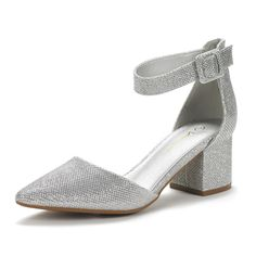 Man Made MaterialSmooth leather or suede uppersChunky Heel, D'orsay Pointed ToeAnkle strap features an adjustable buckle closure.Heel height: (approx)Suitable for office/casual/street/party/club/prom/wedding& more occasions Silver Pumps, Gold Pumps, Black Pumps Heels, Women's Pumps, Pump Shoes, Low Heels, Women's Shoes, Block Shoes, Wedding Flats