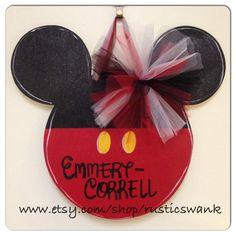 Mickey Mouse Wooden Door Hanger by RusticSwank on Etsy, $40.00 she needs this for her door