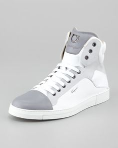 Stephen Leather High-Top Sneaker, White/Gray by Salvatore Ferragamo at Bergdorf Goodman.