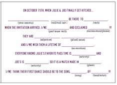 Mad Libs wedding RSVP card!