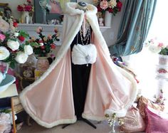 Blush Winter Wedding, Winter Wedding Cape, White Faux Fur Coat, Bridal Cape, Matte Satin, Cloaks, Blue Ivory, Fur Trim, Beauty And The Beast