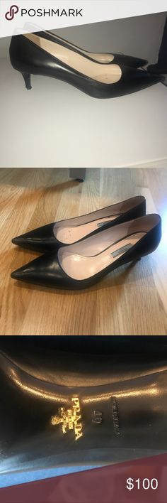 Black Prada heels 100% Authentic  Black leather Prada Shoes Heels