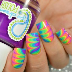 Water marble using all six of the Tie-Dye jellies by pipe dream polish