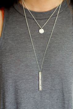Sterling Silver Long Bar Necklace  fight by SpeakUpbyCameron