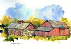 Don Gore Kansas Barns  A couple of barns along Hwy. 56 in east-central Kansas.  I actually did this sketch a few weeks ago and realized tod...