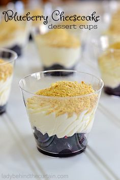 Blueberry Cheesecake Dessert Cups | These little cups are perfect for a brunch, dessert table or any celebration where you want something small to serve.