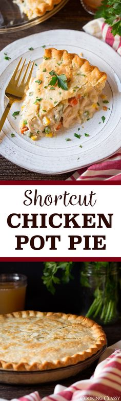 Shortcut Chicken Pot Pie - the easiest pot pie around! So comforting so satisfying and tastes just like what youd get a restaurant! via Jaclyn {Cooking Classy} Quiches, Turkey Recipes, Chicken Recipes, Recipe Chicken, Easy Chicken Pot Pie, Canned Chicken, Chicken Rice, Fall Dinner Recipes, Dinner Ideas