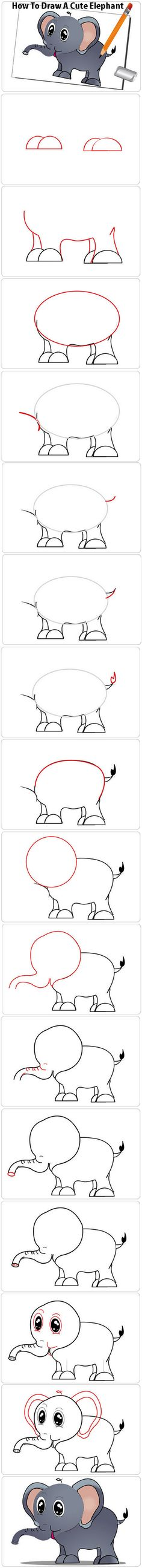 How to Draw a Elephant For Kids, Step by StepHow To Draw A Cute Elephant  http://www.wikihow.com/Draw-a-Cute-Elephant