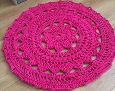 Red Outdoor Cord Crochet Rug in 35 LAST ONE by byCamilleDesigns