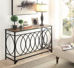 Wood Console Table Vintage Side Sofa Accent Tables Industrial Metal Furniture